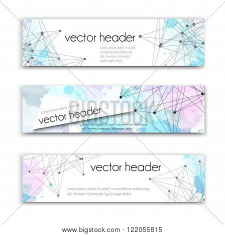 Set of technology vector banners template or website headers with abstract line and dots background. Vector design illustration EPS10. Watercolor background. Vector header set.