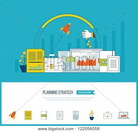 Planning strategy, financial strategy, project management concept. Investment growth. Investment management. Planning process. Planning meeting. Planning strategy icons vector.  Investment business.