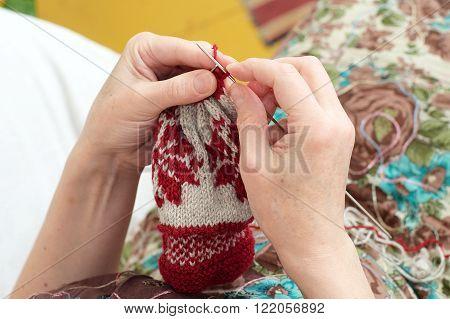 Woman Hands  Needle Knitting Yarn  Snowflake Pattern