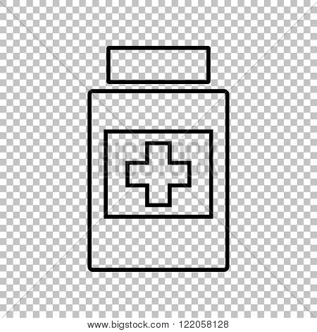 Medical container line vector icon