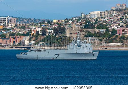 Valparaiso Chile - December 3 2012: The Chilean Navy Amphibious dock landing ship LSDH Sargento Aldea at the port of Valparaiso Chile.