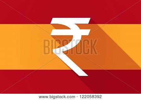 Spain  Long Shadow Flag With A Rupee Sign