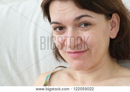Caucasian brunet beautiful woman smiling portrait looking at camera