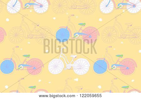 Seamless Pattern With Vintage Bicycles.