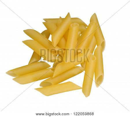 Uncooked Italian pasta heap on a white background