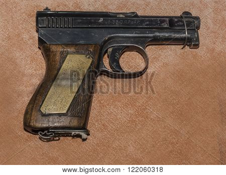MOSCOW RUSSIA- DECEMBER 16- 6.35-mm pistol Mauser sample 1910/1934's Germany at the Central Museum of the armed forces on December 16; 2015 in Moscow
