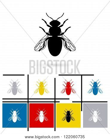 Bee icon. Vector bee pictogram or bee symbol
