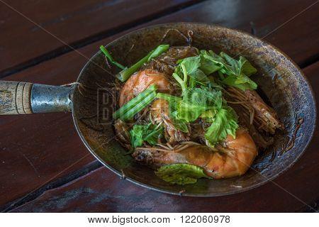 Baked Shrimps With Glass Noodles, Authentic Thai Cuisine