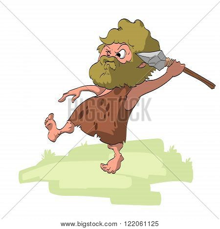 Colorful vector illustration of a hunting cave man.