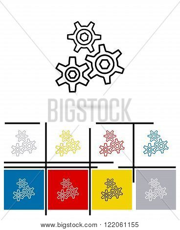 Cogs gears icon or cogs gears sign. Cog gears thin line pictogram for logo with cog gears