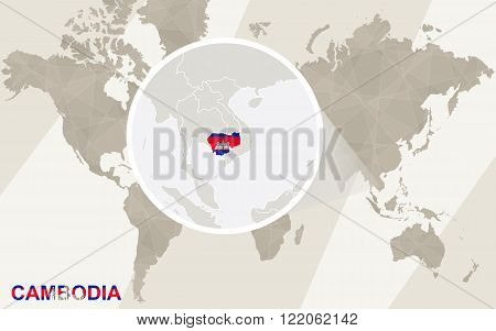Zoom On Cambodia Map And Flag. World Map.