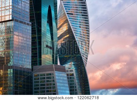 MOSCOW - APRIL 14 2015: The Moscow International Business Center Moscow-City . Located near the Third Ring Road the Moscow-City area is currently under development