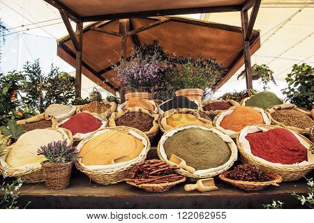 Various kinds of spices in the marketplace. International cuisine.