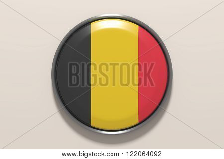 Button With Belgium Flag