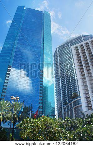 MIAMI BEACH, UNITED STATES - FEBRUARY 4: Skyscrapers of Miami (Wells Fargo Center) on 4th of February, 2016 in Miami Beach.