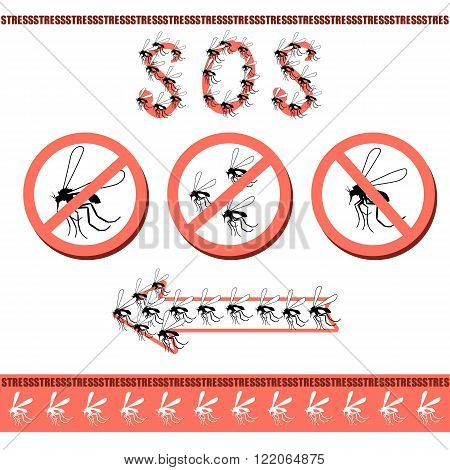 No pesky mosquitoes in the house. Attack mosquitoes biting insects sucking human blood insect. Prohibitory sign. Specializing in the extermination mosquitoes and sandflies illustration in vector