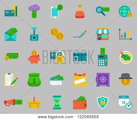 Vector cartoon flat colored banking Icons set.