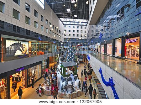 BARCELONA SPAIN - DECEMBER 13: View of the shopping mall interior in Barcelona on December 13 2014. Barcelona is the secord largest city of Spain.