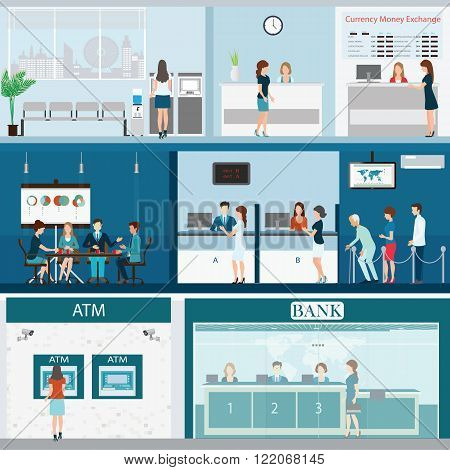 People in a bank interior Bank building exterior and interior counter desk cashier consulting money currency exchange financial services ATM with CCTV security camera banking vector illustration.