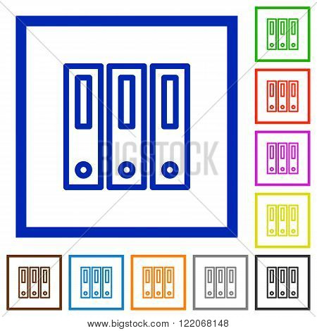 Set of color square framed binders flat icons on white background