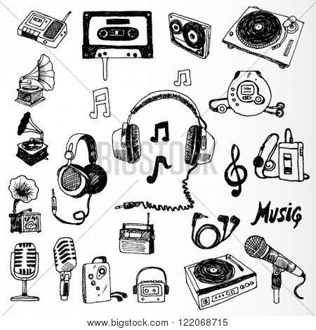 Vintage Music Stuff Hand Drawn