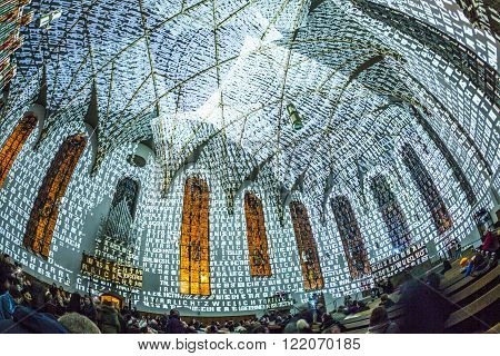 Illuminated Katharinen Church At Night During Luminale  In Frankfurt