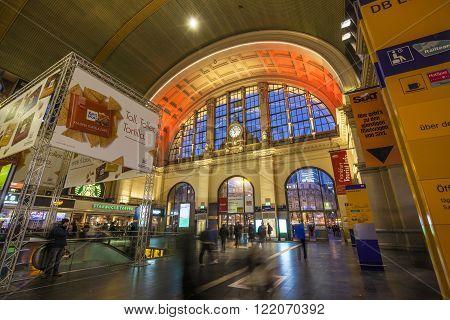 Illuminated Train Station At Night During Luminale  In Frankfurt