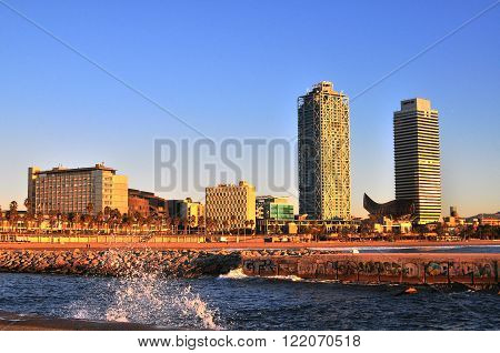 BARCELONA SPAIN - DECEMBER 29: View of the waterfront of Barcelona on December 29 2014. Barcelona is the secord largest city of Spain.