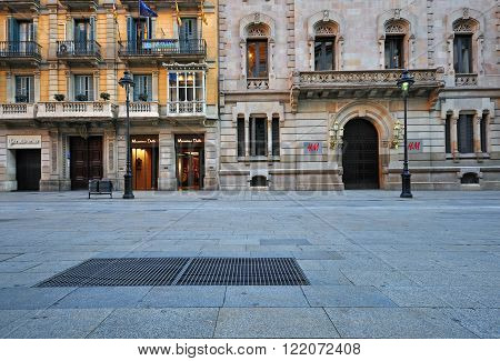 BARCELONA SPAIN - JANUARY 17: View of the Rambla de Cataluna street in Barcelona on January 17 2015. Barcelona is the capital of Catalonia and second largest city of Spain.