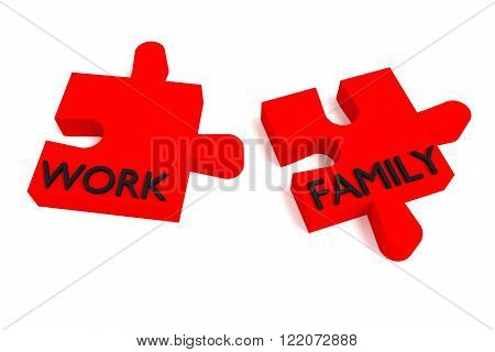 Red Puzzle work and family, jigsaw on a white background
