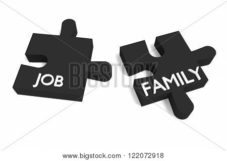 Black Puzzle job and family, jigsaw on a white background