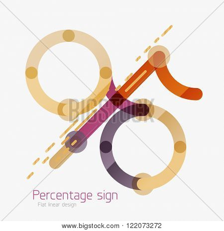 Flat icon of percentage sign. Linear outline style made of overlapping multicolored line elements