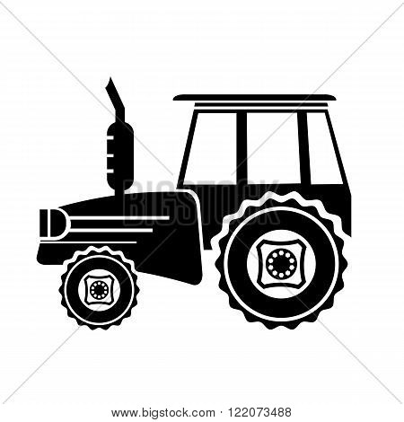 Tractor Icon Isolated on White Background. Silhouette of Tractor