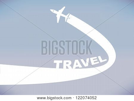 Flying airplane leaving a curve contrail isolated on cloudless evening sky background. Vector illustration with copy space for travel industry.