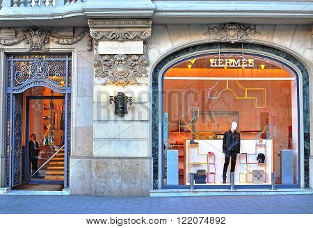 BARCELONA SPAIN - FEBRUARY 5: Hermes flagship store in Paseo de Gracia Barcelona on February 5 2015. Hermes is a french world famous luxury brand.