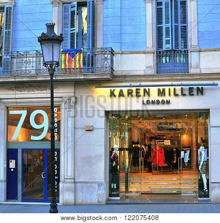 BARCELONA SPAIN - FEBRUARY 5: Karen Millen flagship store in Paseo de Gracia Barcelona on February 5 2015. Karen Millen is a british world famous fashion brand.