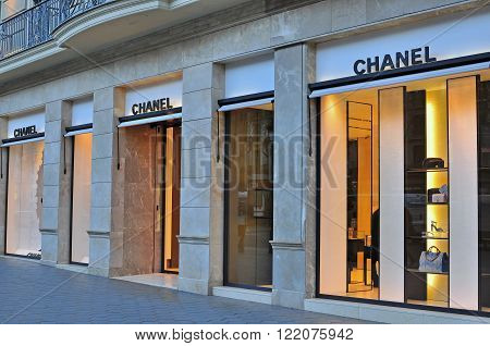 BARCELONA SPAIN - FEBRUARY 5: Chanel flagship store in Paseo de Gracia Barcelona February 5 2015. Chanel is a french world famous luxury brand.