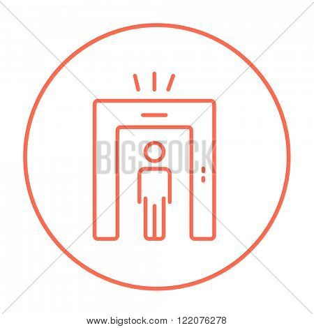 Man going through metal detector gate line icon.