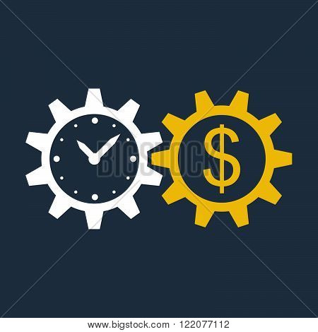 Time is money concept, flat design illustration