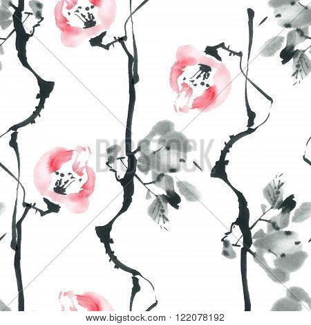 Watercolor and ink illustration of blossom tree. Sumi-e u-sin painting.