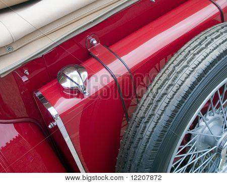 Close-up of veteran sports car