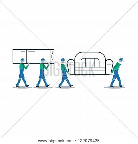 Transportation services, loading people, flat design illustration