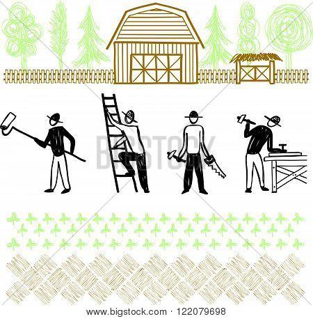 Hand drawn home improvement, flat design illustration
