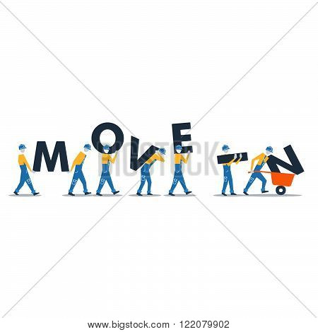 Row of workers carrying letters, flat design illustration