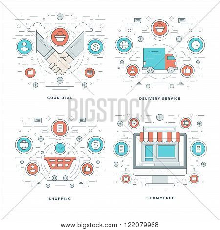 Flat line Management, Finance Accounting, Innovations, Business Team Concepts Set Vector illustrations. Modern thin linear stroke vector icons. Website Header Graphics, Banner, Infographics.