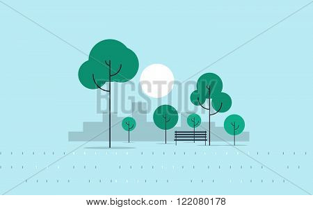 City park, evening time, flat design illustration