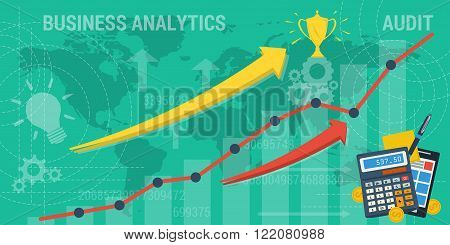 Vector business background. Concept improvement analytics taxes company or earnings growth. Arrows shows growth and abstract lines and transparent elements. Flat style. Web infographic