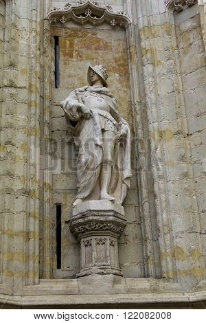 Brussels, Belgium - May 10: This is one of numerous figures ukraschayuschih the perimeter of the Cathedral of Notre-Dame du Sablon May 10, 2013 Brussels Belgium.