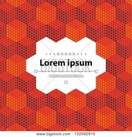 Template with dotted cubical pattern, flat design illustration