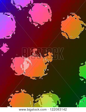 Dotted background with some overlapping circles and several colors